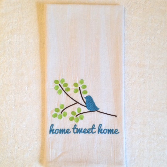 Kitchen Towels with Birds Embroidered Home Sweet Home Home Tweet Home Blue Bird on Tree Branch
