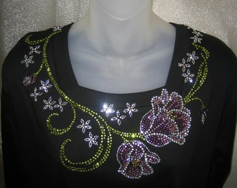 Purple TULIPS Neckline Flowers Shirt- Floral Crystal RHINESTONES Top - Size Large