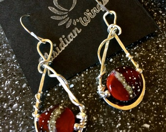 Sterling Silver Wire Wrapped and Red Lampwork Bead Earrings