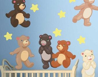 Teddy Bear Wall Decal Kit - Nursery Animal Wall Decal by Chromantics