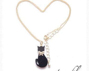 Black Cat Necklace, Trend Fashionable Item!