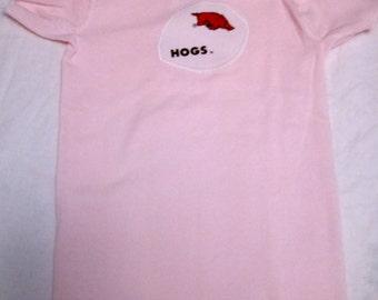 Arkansas Razorback on Pink Onesie
