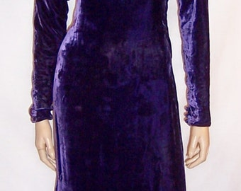1930's Violet Silk Velvet Evening Gown with Rhinestone Embellishments