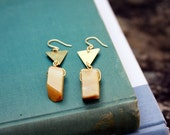 Yellow Jade and Triangle Drop Earrings