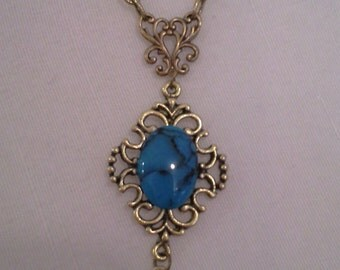 Antique Inspired Necklace With Turquoise Glass Drop = N 131