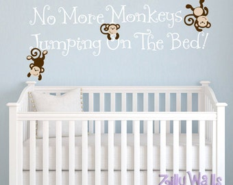 Nursery wall decal Kids Monkey Wall Decal Decor No More Monkeys Jumping On The Bed for bedroom Vinyl Decor baby shower gift