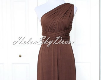 Bridesmaid Convertible Dress dark brown Infinity Dress Multiway Wrap Dress chocolate Prom Dress