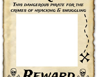 "Wanted Pirate Printable Sign 16"" x 20"" photo prop"
