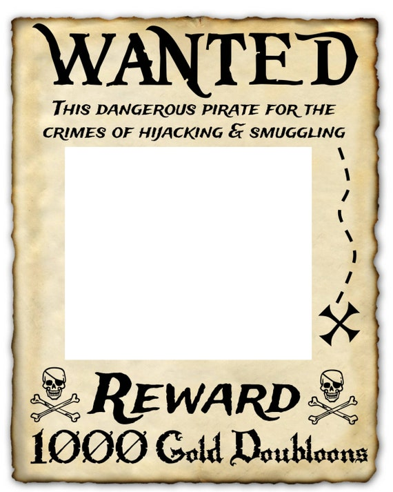 Wanted pirate printable sign 16 x 20 photo prop for Wanted pirate poster template