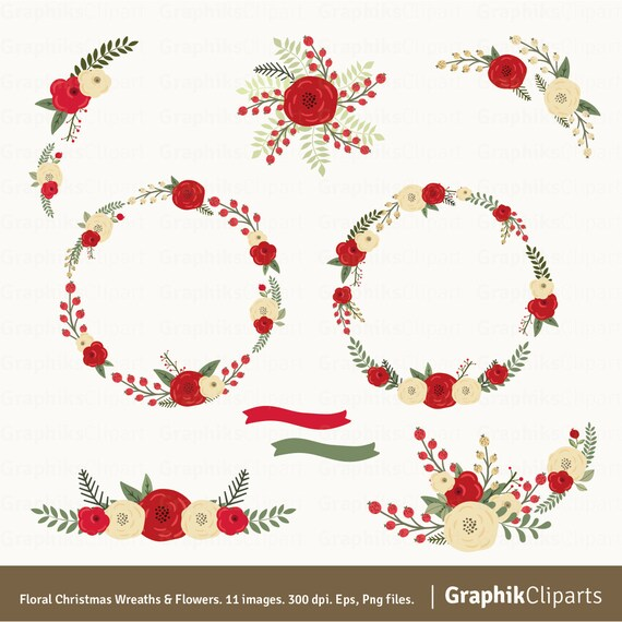 christmas wreaths  flowers clipart. christmas clipart. floral, Beautiful flower