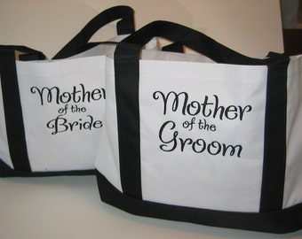Two Personalized Mother of the Bride and Mother of the Groom Tote Bags