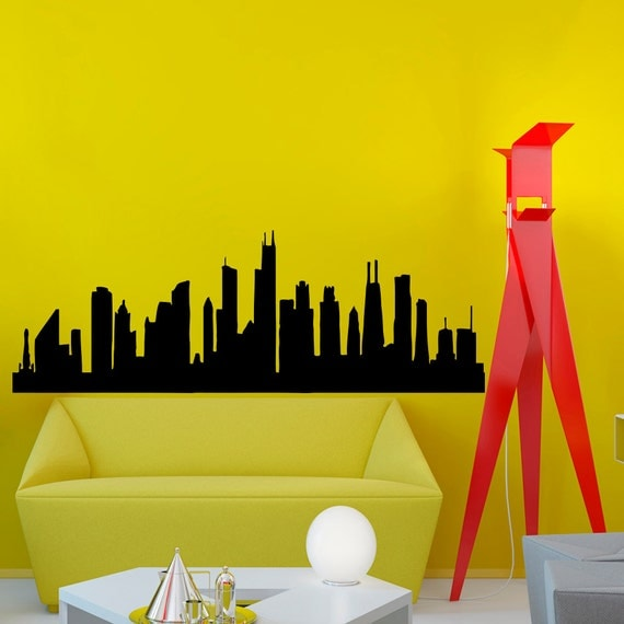 Chicago skyline city silhouette wall vinyl decal sticker for Chicago skyline wall mural