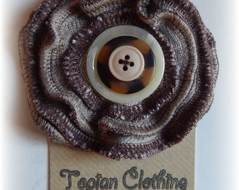 SALE - Upcycled Flower Pin Brooch Brown Beige Rose Corsage with Button centre - made from Recycled Knitwear and Clothing - Wearable Art