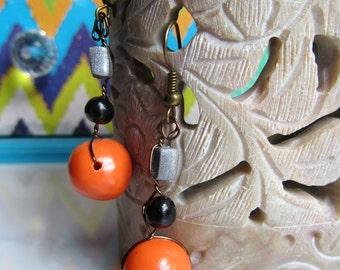 Orange Polymer Clay Bead Earrings