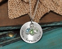 personalized mothers necklace with kids names and crystals