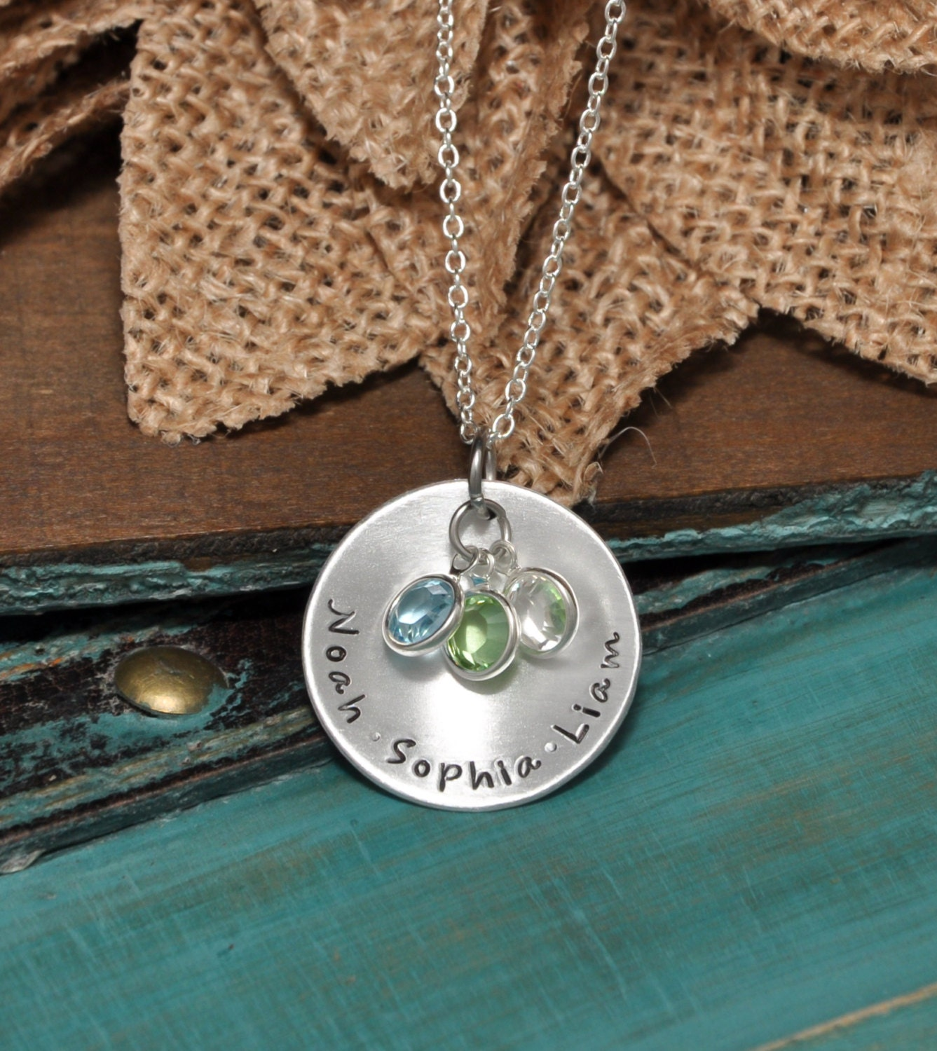 personalized mothers necklace with kids names and crystals. Black Bedroom Furniture Sets. Home Design Ideas