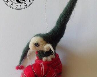 Iratxo, goblin in a snail, christmas ornament merino wool
