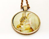 beatrix potter necklace bunny necklace peter rabbit necklace cute litte animals copper necklace watercolor illustration glass dome jewelry
