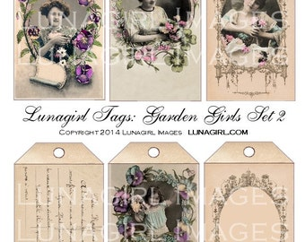 GARDEN GIRLS TAGS frames digital collage sheet Download shabby vintage printables images French postcards Victorian art flowers women ladies