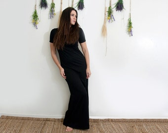 Women's Dress • Short Sleeve Maxi Dresses • Tall & Petite • Jersey Floor Length Dress • Ethically made in our loft • L|415 (No. 657)