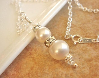 Bridesmaid Necklace White Pearl Necklace Sterling Silver Necklace Bridesmaid Jewelry Swarovski White Pearl Necklace