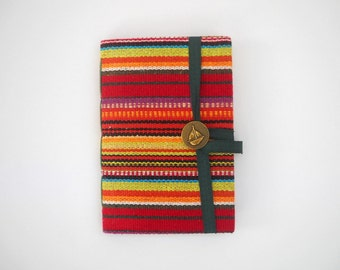 Stripes Journal notebook Handmade journal lined journal for writing colorful stripes fabric travel journal, personal journal, handmade books