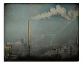 Aged Art Photograph, Urban Print, Retro Colors, Lightening, Sky, Cityscape, Architecture, Polluted Landscape - Smokestack