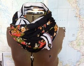 Last One...FLOWERS and STRIPES Infinity Scarf -- reversible cowl, multiple styling options with button tab accent, flower-print circle scarf