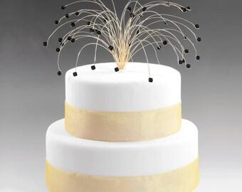 Wedding Cake Topper in Jet Black and Gold Swarovski Crystal Elements Fireworks Spray Birthday Cake Topper Decor Decoration