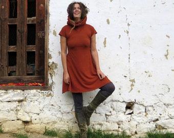 Organic Chunky Cowl Babydoll Short Dress (light hemp/organic cotton knit) - organic dress