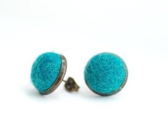Stud Earrings, Felted Wool Earrings, Teal Studs, Fibre Jewelry, Post Earrings, Peacock Earrings, Winter Jewelry, Antiqued Brass Studs