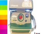 Polaroid Love,  Still Life Photography, Camera Photograph, Green and Red Heart, Retro,  rainbow color photography ,fPOE