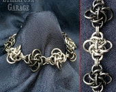 B/W Persephone Knot Bracelet - Stainless Steel Chainmaille