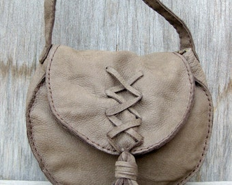 Saddle Bag Handbag in Olive Gray Nubuck Leather with Lacing and Tassel by Stacy Leigh