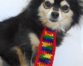 Dog Rainbow Necktie, Multicolor, Rainbow Pride, LGBT, Bright Primary Colors, with Velcro closure, size Small