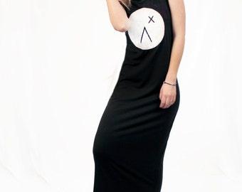 Agoraphobix The Asteria maxi dress - in Logo print   black maxi dress   black dress