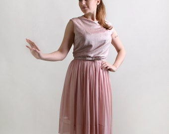 Vintage 1960s Party Dress - Cotton Candy Pink Chiffon Cocktail Dress - Medium
