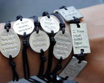 If Not Now, When?  // Men's Women's Unisex Pewter Bracelet  / Einstein Quotes Black Macrame Grey  / Gugma Jewelry