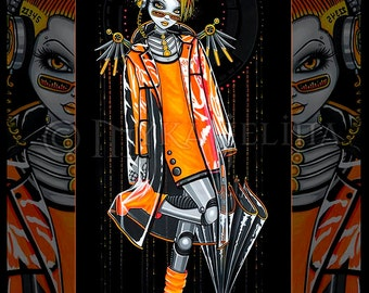 Decibel Orange Fairy Cyberpunk Robot Android Musical 8x10 Signed PRINT