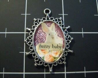 100% Donation: Fuzzy Baby Rabbit Pendant, All of the proceeds go to the Animal Rescue Charity of the Month