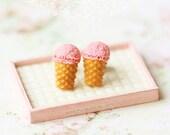 Dessert Earrings - Ice Cream Earrings Stud - Strawberry, Chocolate OR Vanilla