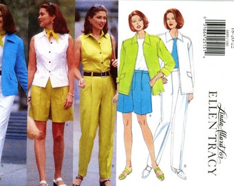 Butterick 4889 Ellen Tracy Jacket Top Shorts Pants Scarf Size 18 20 22 Uncut Sewing Pattern 1997