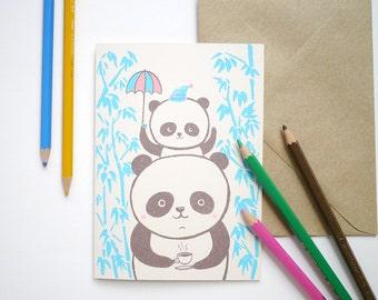 Panda family - hand printed I Love you, birthday, New baby Card