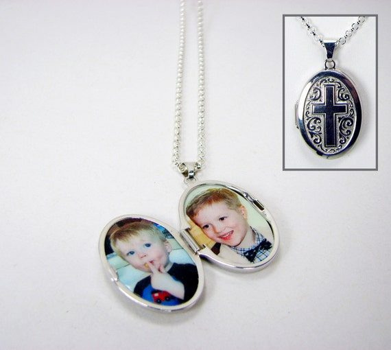 Locket - Sterling Silver, Oval photo locket with a Cross engraving, Holds 2 Photos - LP11N