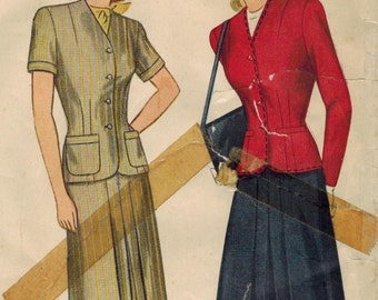 1940s Simplicity 1367 FF Vintage Sewing Pattern Misses Two Piece Dress, Top, Skirt Size 18 Bust 36
