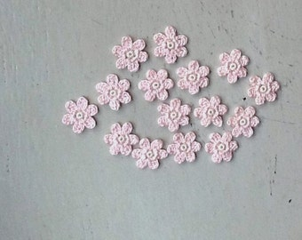 Crochet Flowers Appliques 117.18 --- 12 pcs --- Tiny Size flowers in Pink Petals with Centre in Beige