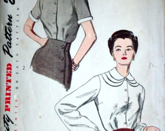 Vintage 40's Simplicity 2978 Sewing Pattern, Misses' Blouse, Size 12, 30 Bust