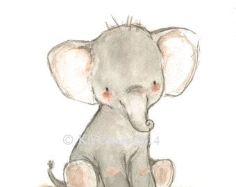 "Nursery Art -- ""LITTLE PACHYDERM"" -- Archival Print"
