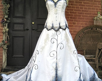 Custom Hand Painted Gothic Wedding Gown