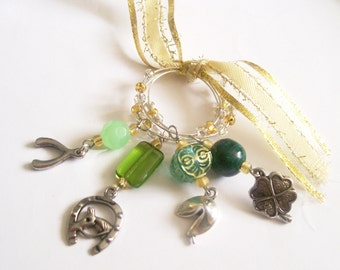 LUCKY CHARMS Wine Charms - Set of 4 Glass Markers - St. Patricks Day Party - Barware